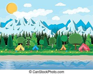 lago, capim, prado, acampamento
