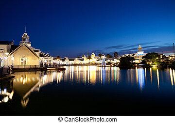 lago, cena noite, em, elizabeth porto