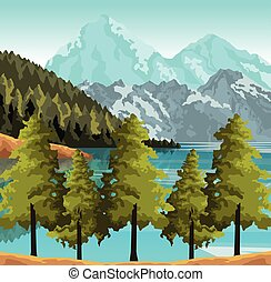 lago, coloridos, desenho, montanhas, paisagem, árvores, bonito