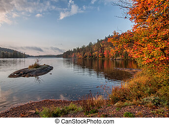 lago, con, isla pequeña, durante, otoño