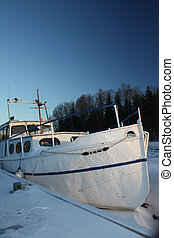 lago congelado, bote, inverno