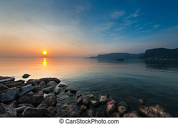 lago, Costa, ocaso,  gardasee, rocas, Temperamental