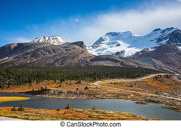 lago, de, a, derretendo, de, enorme, geleiras
