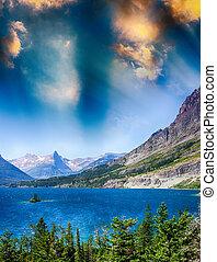 lago, de, parque nacional del glaciar, montana