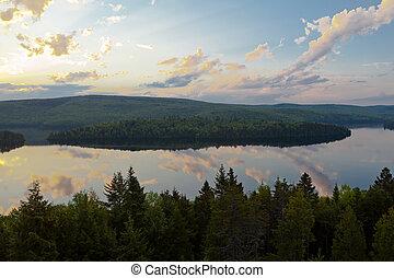 lago, de, sacacomie, em, quebec, canadá