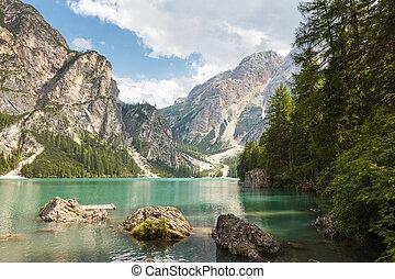Lago di Braies or Pragser Wildsee Italy