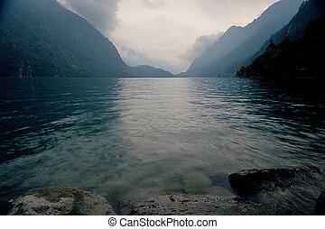 Lago di Poschiavo Lake in Swiss Alps