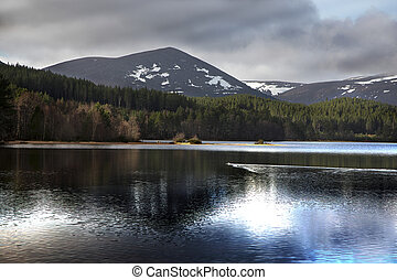 lago, dramático, morlich, reflexión