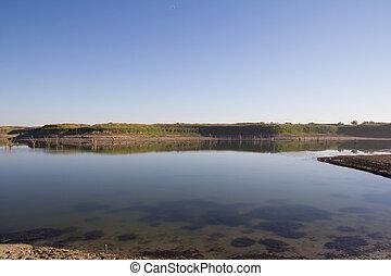 lago, em, a, steppes, de, kazakhstan