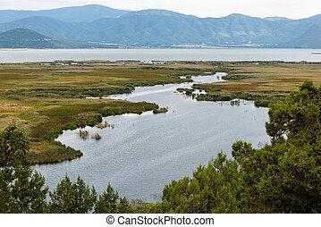 lago, em, grécia