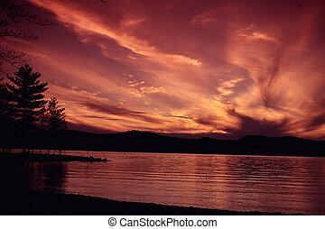 lago, em, pôr do sol, 2