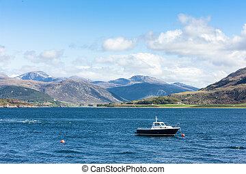 lago, escoba, tierras altas, escocia