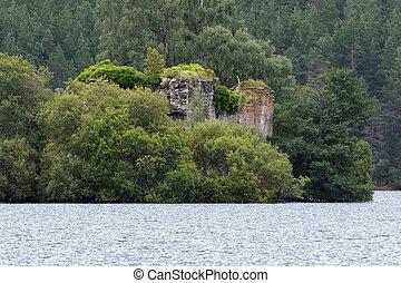 lago, escocia, medio, eilein, aviemore, castillo
