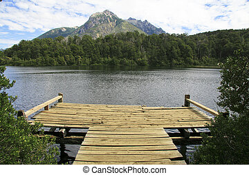 Lago escondido (hidden lake) on the route of the seven lakes near Bariloche Patagonia Argentina
