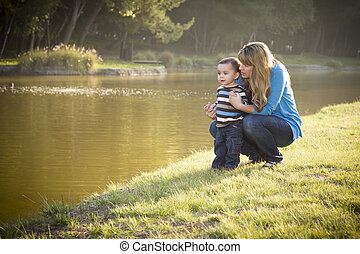 lago, filho, olhar, mãe, bebê, feliz, saída