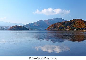 lago, floresta, outono