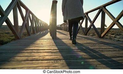 lago, gens, rivage, deux, sao, rivière, promenade, quinta, marche, portugal, de, lourenco, ahead., femelles, almancil.