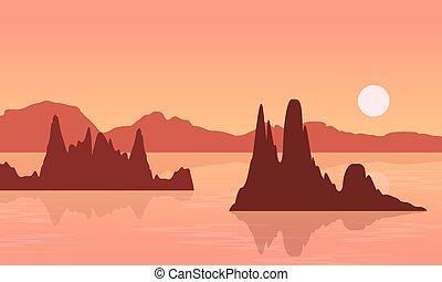 lago grande, paisagem, rocha