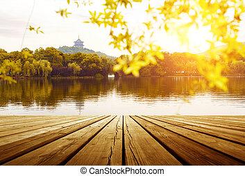 lago, hangzhou, pagoda, oeste