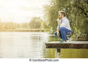 lago, homem