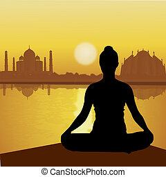 lago, humano, taj, lado, yoga, mahal, plano de fondo