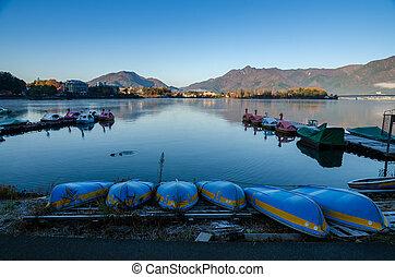 lago kawaguchi, en, el, salida del sol, kawaguchi-ko, japón