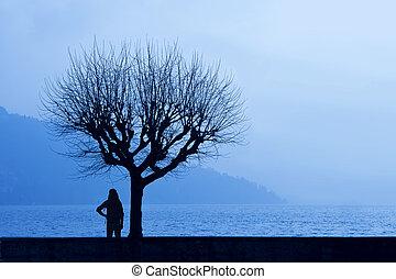 lago, lado, hiker