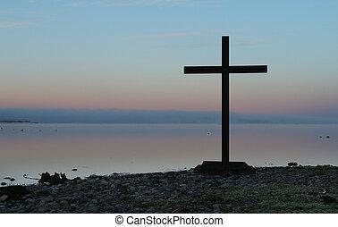 lago, lato, croce