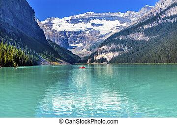 lago louise, canoas, nieve, montañas, banff parque nacional, alberta canadá