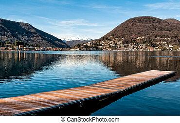 lago, lugano, de, ponte, tresa
