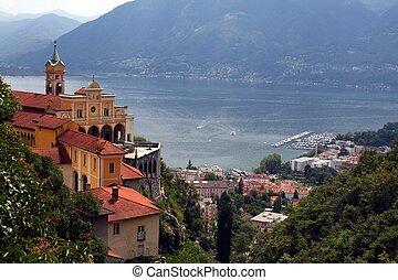 A View of Lago Maggiore in Switzerland, with the Madone del Sasso Church