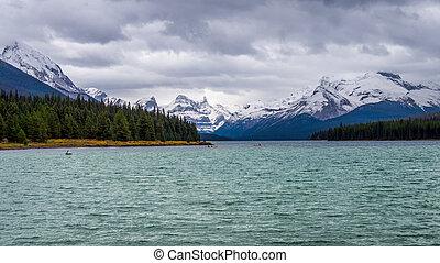 lago maligne, em, jasper, nacional, par