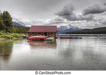 lago maligne, -, jasper parque nacional, alberta, canadá