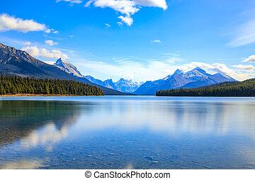 lago,  maligne, vista
