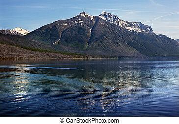 lago mcdonald, nieve, montaña, reflexión, parque nacional del glaciar, montana