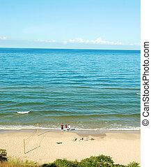 lago michigan, praia, em, a, verão