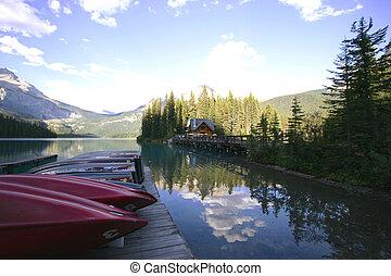 lago, montaña, barco