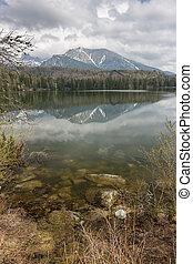 lago montaña, en, eslovaquia, tatra