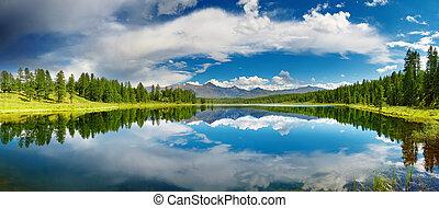 lago, montaña