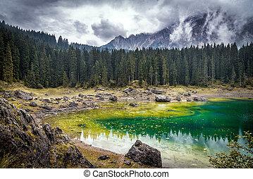 lago montagna, in, parco nazionale
