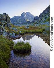 lago montagna, in, retezat, parco nazionale, romania