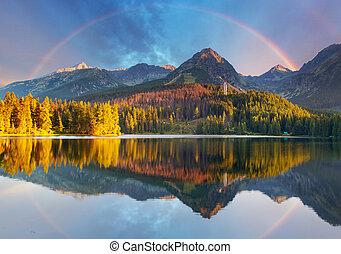 lago montagna, paesaggio, con, arcobaleno, -, slovacchia, strbske, pleso