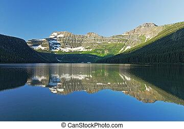 lago montagna, riflessione, -, alberta, canada