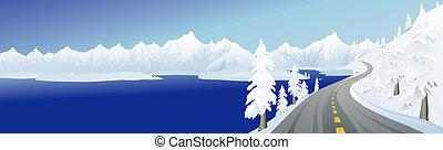 lago montagna, strada