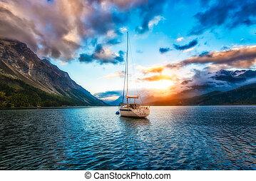 lago montanha, bote