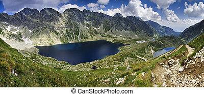 lago montanha, com, reflexão