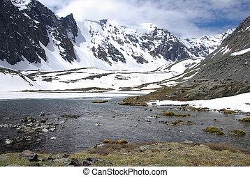 lago montanha, em, fundo, com, alto, montanha