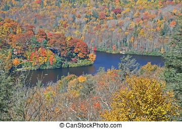 lago montanha, em, outono