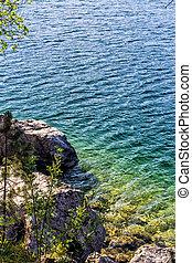 lago montanha, em, verão