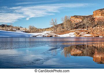 lago montanha, inverno, colorado